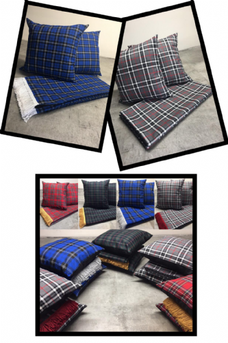 TARTAN DESIGN FABRIC - Curtains and tie backs set